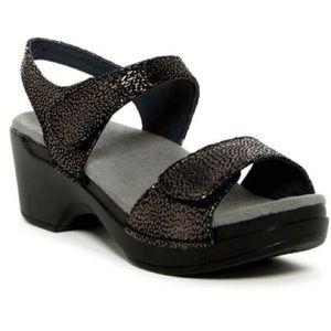 Dansko Black Animal Print Sonnet Shimmer Sandals